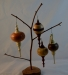 Allan Cusworth - Hollow Christmas Ornaments - various woods - lacquer on globe, Shellawax cream on finials
