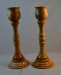 Bob Askew - Pair of Candlestick Holders - 12 in. high - Maple from same piece of wood - Tung Oil finish